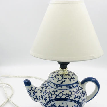 Vintage Blue White Oriental Lamp Floral Porcelain Table Light Wooden Stand Bell Shade Teapot Asian by JoAnntiques