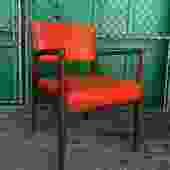 Danish Modern Arm Chair with Wood & Orange Vinyl