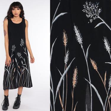 Black Floral Dress Summer Dress 90s Sundress Sleeveless Rayon Floral Print Midi Dress Shift Boho 1990s Bohemian Vintage Sun Medium by ShopExile