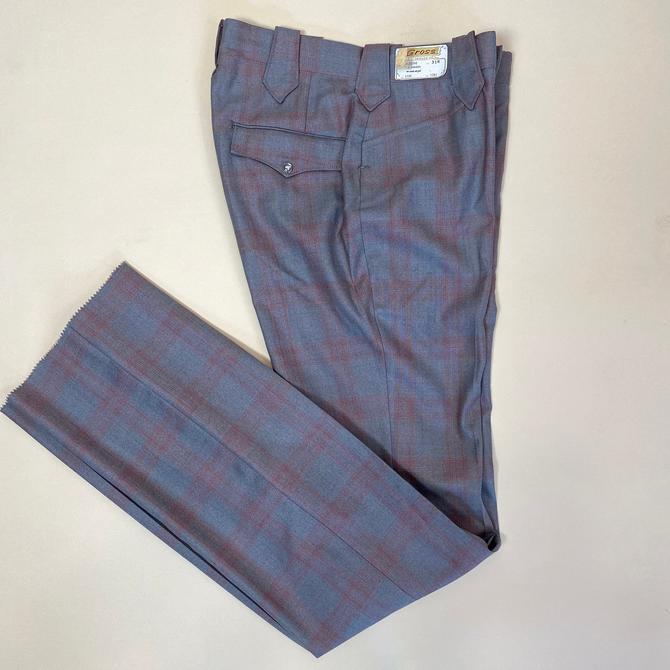 Vintage 1960s Western Slacks 60s Deadstock Plaid Pants Wool and Silk Plaid by littlestarsvintage
