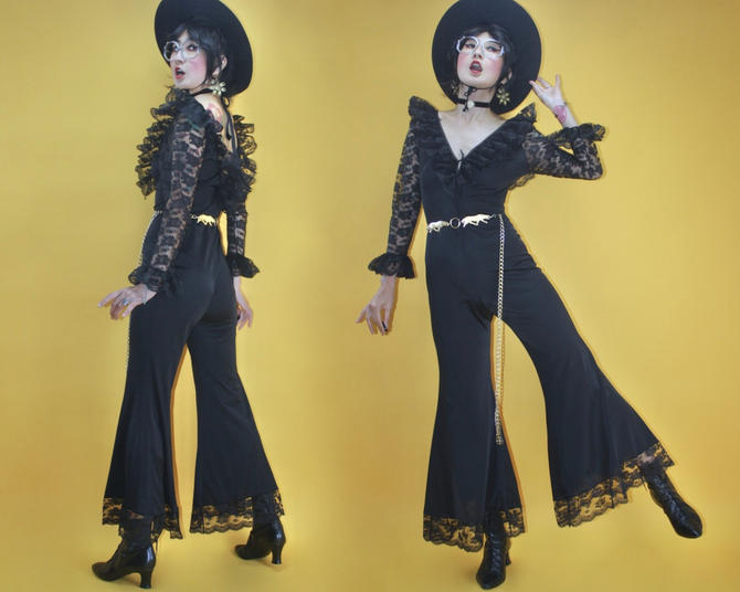 Vintage 60s 70s Romantic Massive Black Lace Ruffle Extreme Bell Bottom Catsuit/SZ S/1960s 1970s MOD Disco Glam Hippie Boho Onesie Jumpsuit by TheeAppleBoutique