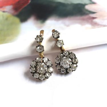 Antique Victorian 3.20ct.tw. Old European Cut Diamond Halo Drop Earrings Silver Over 18K by YourJewelryFinder