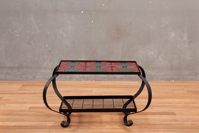 Petite Peony Tile & Iron 2-Tier Side Table