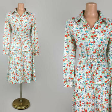 Vintage 70s Poppy Print Belted Tunic Blouse and Skirt Set | 1970s 2 Piece Dress Suit Outfit | Brownstone Studio NY, The Wilroy Traveller NY by IntrigueU4Ever