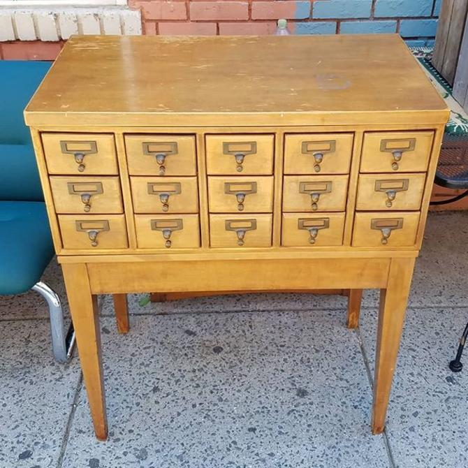 Fifteen Drawer Maple Library Card Catalog Case, $550.