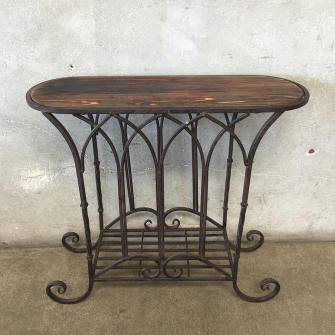 Iron & Wood Narrow Side Table
