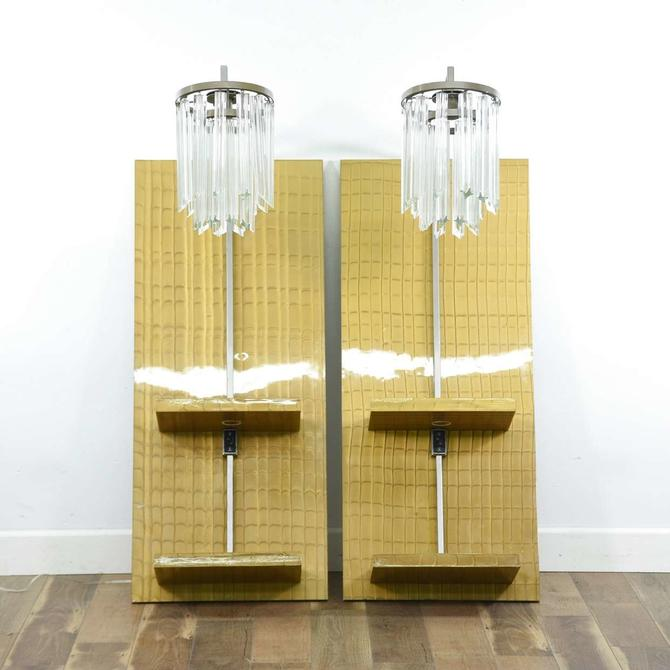 Pair Large Art Deco Wall Mount Sconce Lamp Nightstands