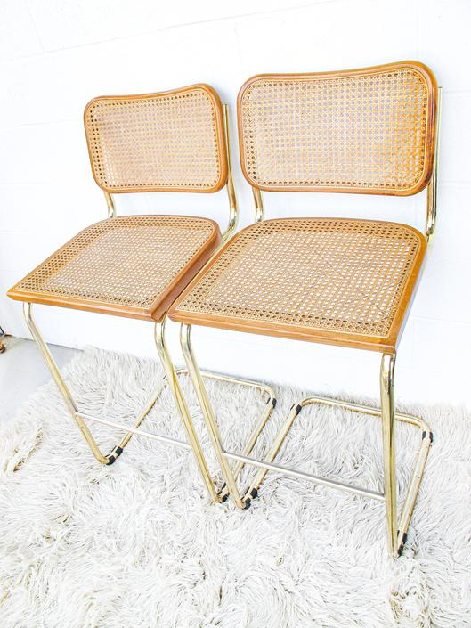 Rare Set of 2 Gold Metal Marcel Breuer Style Bar Stools (Sold as a set!) by PortlandRevibe