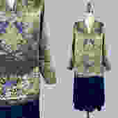 RARE!! 1920s Dress / 20s Metallic Lamé BEADED Dress / Beaded Bluebirds / Blue Silk Velvet / Soutache by GuermantesVintage