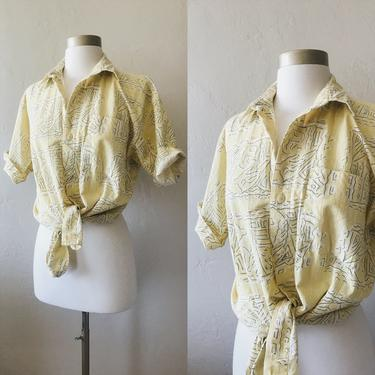 Vintage Yellow Beach Tribal Button Down, Dad Shirt by FolkandCup