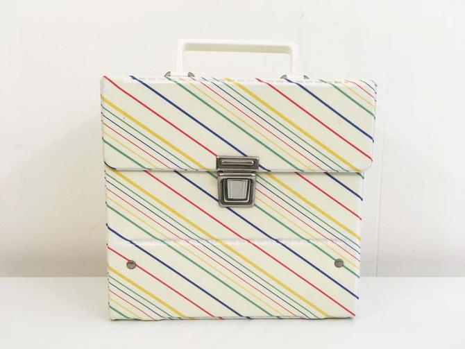 Vintage Rainbow 45 Box Record Case Holder Platter-Pak Amfile Storage Mid-Century Retro Vinyl Records Music Striped Colorful Plastic Handle by CheckEngineVintage