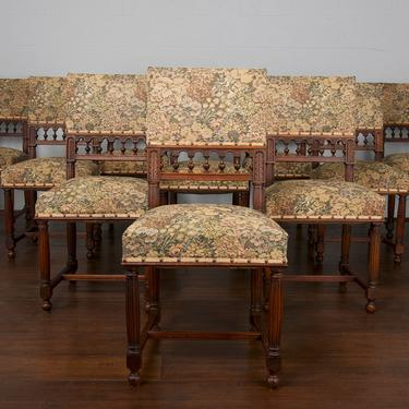 Late 19th Century Set of 10 French Renaissance Henry II Oak Dining Chairs by StandOutSpaces