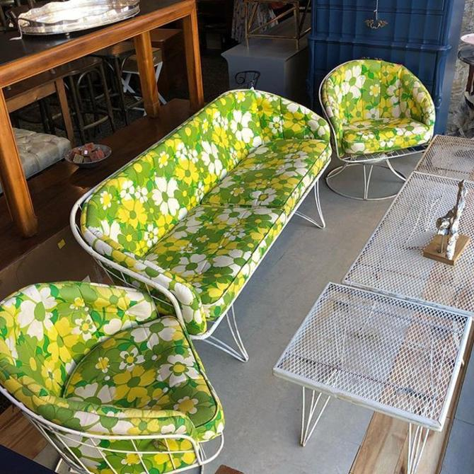 Midcentury outdoor set! Couch : $295 Swivel Chairs :$95 each! White metal tables : $22-$60
