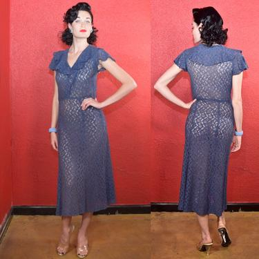 1930s Cotton Blue Lace Day Dress by THEGIRLCANTHELPITUSA