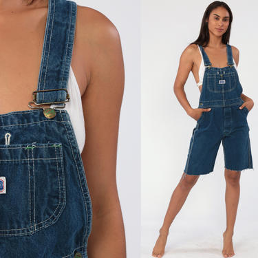 Short Overalls Denim Overall Shorts CUTOFF Shortalls Jeans Big Smith 90s Grunge Jean Blue Woman Frayed 1990s Vintage Extra Small xs by ShopExile