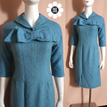 Lovely Vintage 60s 70 Light Blue Textured Tweed Wool Mod Dress with Bow Front - AS IS by RETMOD