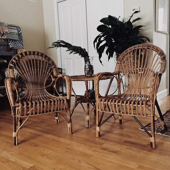 Surprising Franco Albini Style Table And Chair Set Pair Of Rattan Chairs Rattan Side Table Two Chairs And Side Table Vintage Rattan Set By Vintageandswoon Beutiful Home Inspiration Aditmahrainfo