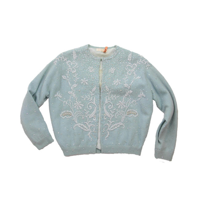 26c026b29e8a Vintage 1950s Baby Blue Cardigan Sequin Beaded Sweater Lambs Wool ...