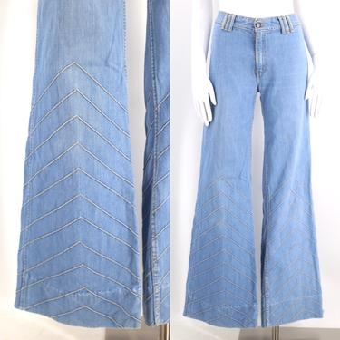70s BRITTANIA chevron high waist bell bottom jeans 34 / vintage 1970s light denim stitched bell bottoms flares pants 12 by ritualvintage