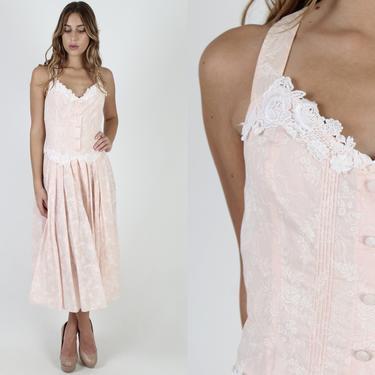 Scott McClintock Pink Floral Dress / 1980s Deco Wedding Dress / Vintage 80s Tuxedo Pleated Preppy Dress / Womens Pink Pleated Halter Maxi by americanarchive