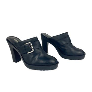 Vintage Heeled Clogs | 90's Black Leather Heel Mules Clogs  | Womens Slip On Heels Black Heels Vintage Shoes Streetwear 90's Fashion by DakodaCo