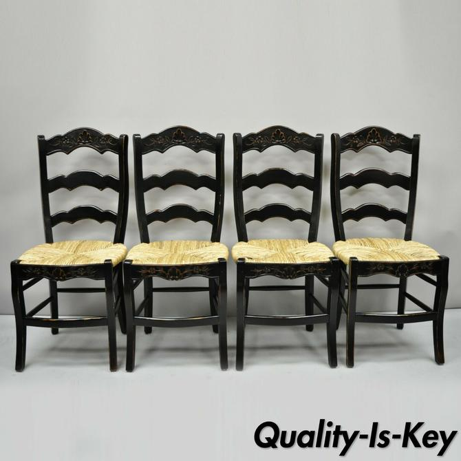 4 French Country Rush Seat Ladder Back Black Shell Carved Dining Side Chairs