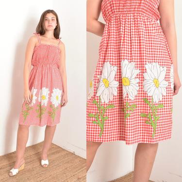 Vintage 1970s Dress / 70s Gingham Cotton Daisy Print Sundress / Red White ( S M ) by lapoubellevintage