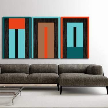 Minimalist Large Art, Wood Art, Wall Decor, Mid Century Modern, Abstract Bedroom Art Paintings Sculpture Acrylic Home Decor Geometric by LauraAshleyWoodArt