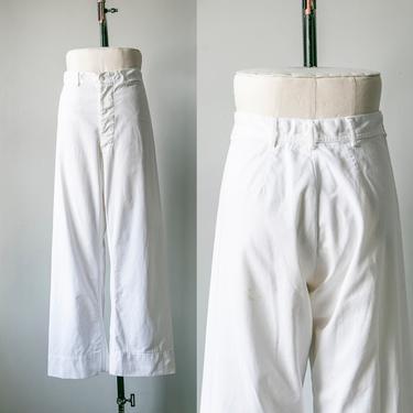 1950s Sailor Pants White Cotton High Waist Wide Leg Navy by dejavintageboutique