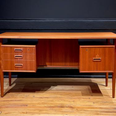 Refinished Danish Teak Floating Top Executive Desk attr. Gunni Omann for Omann Jun- Mid Century Modern Scandinavian Furniture by MidMod414