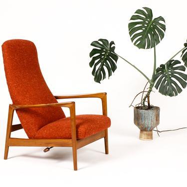 Danish Modern / Mid Century Teak Reclining Lounge Chair — Red / Orange Tweed — Folke Ohlsson for Dux by atomicthreshold