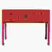 Chinese Oriental Rustic Pink Red Lacquer Drawers Side Table cs5164S