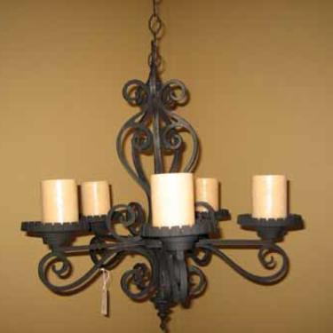 French Painted Iron Five Candle Chandelier