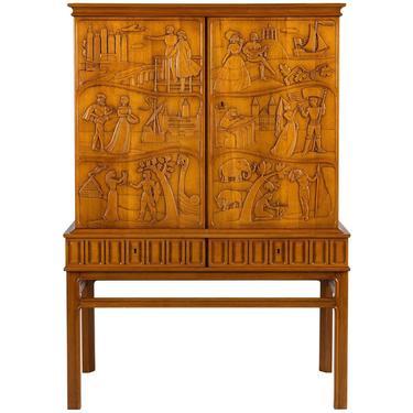 Eugen Hoglund Carved Cabinet