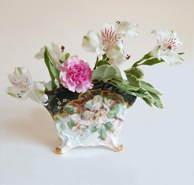 Victorian Art Nouveau Austrian Vase Antique PH Leonard Vienna Porcelain Botanical Vase Home & Living Home Decor Collectibles 1890s by Curiopolis