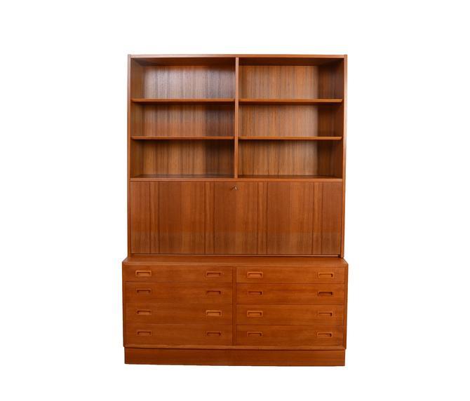 Teak Wall Unit Desk Bookcase Drawers Hundevad Danish Modern by HearthsideHome