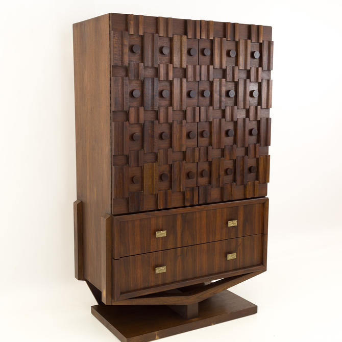 Paul Evans Style Canadian Brutalist Pedastal Base Mid Century Armoire Highboy - mcm by ModernHill