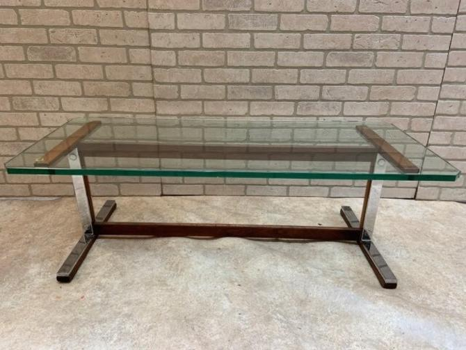 Mid Century Modern Milo Baughman Rectangular Glass Top Coffee Table with Chrome and Burlwood Base