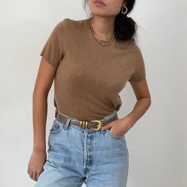 90s cashmere sweater tee / vintage camel cashmere short sleeve cropped cashmere crewneck snug sweater tee | S M by RecapVintageStudio