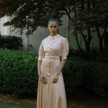 RARE C. 1930s blush silk satin and bakelite gown antique art deco dressing gown by DevoreVintage