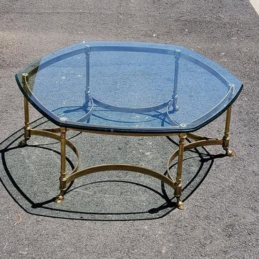 1960s Labarge Coffee Table Hollywood Regency Gold Hexagon Round Mid Century Modern Brass Glass Table End Table Maison Jensen Style  Office by MakingMidCenturyMod