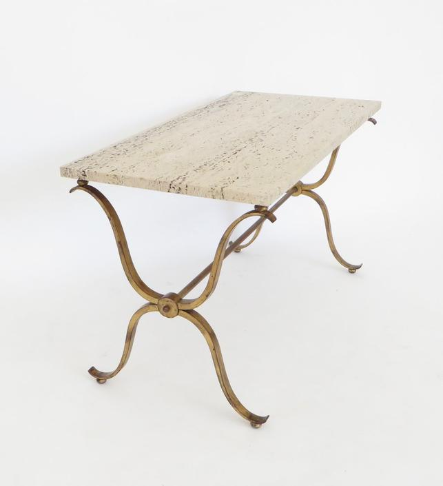 French Gilded Iron and Travertine Coffee or Side Table Signed Maison Ramsay