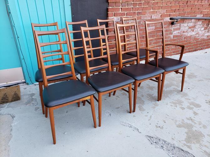 "Set of 8 Danish Teak Koefoeds Hornslet ""Lis"" Dining Chairs"