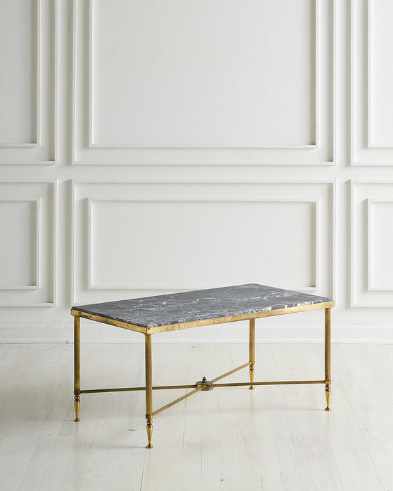 French Brass Coffee Table with Honed Marble Top