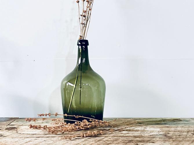 Dark Green Demijohn   Dark Green Glass Wine Bottle   Dark Green Glass Vase   French Demijohn   Branches Vase   French Style   Industrial by PiccadillyPrairie