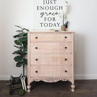 Natural Wood Dresser - Refinished Furniture - Tall Dresser - Chest of Drawers - Modern Farmhouse - Vintage Furniture - Antique Dresser by ARayofSunlight
