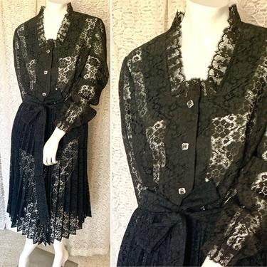 Vintage All Lace Outfit, Pleated Skirt, Top, Blouse, Black Sheer Lace, 50s 60s by GabAboutVintage