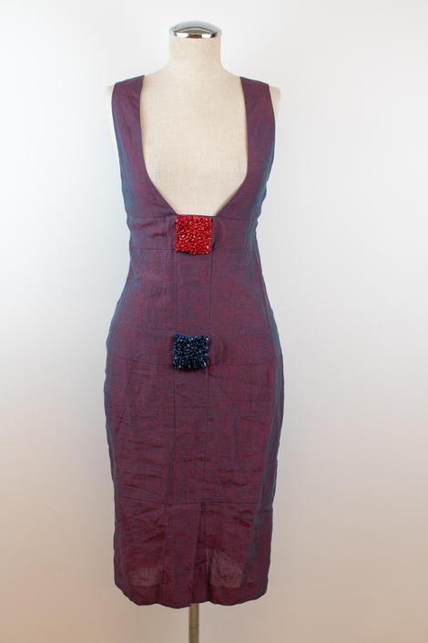 Vintage Y2K | Fendi | Purple Linen Dress with Beaded Details by LadyofLizard