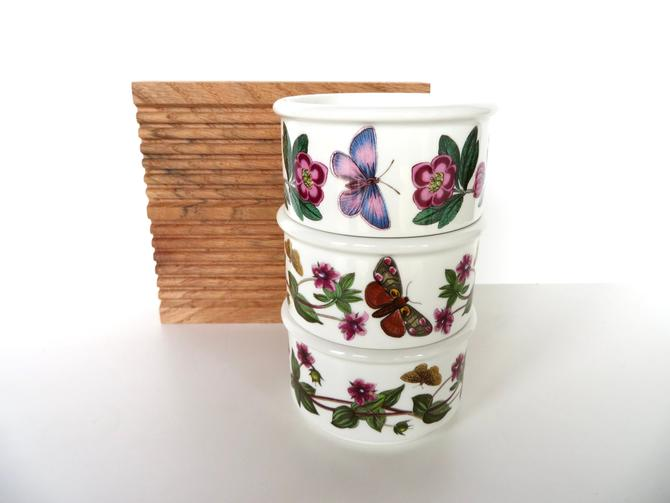 3 Vintage Vintage Portmeirion Botanic Garden Ramekins,Portmeirion Condiment Dish, Custard Cups From England by HerVintageCrush
