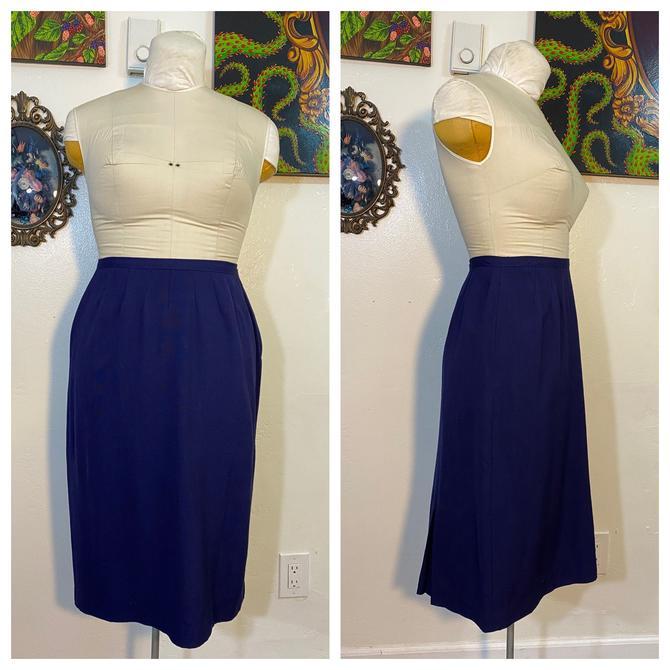Vintage 1950's Navy Blue Pencil Skirt by SurrealistVintage
